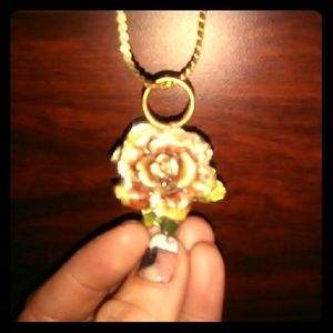Jewelry - Hand painted rose necklace